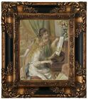 the renoir girl - Renoir Young Girls at the Piano 1892 Wood Framed Canvas Print Repro 8x10