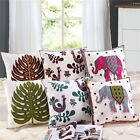 Cotton 18''Square Embroidered Cushion Cover Home Decor Throw Pillow Case Linen