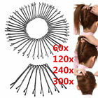 60/300Pcs Invisible Hair Clips Flat Top Bobby Pins Grips Salon Barrette Black