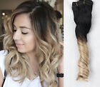 """18"""" Ombre Full Head 70% Human Hair Clip in Hair Extensions Black Blonde"""
