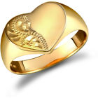 Ladies Solid 9ct Gold Diamond Cut Love Heart Signet Ring