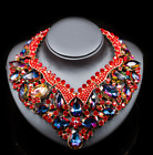 Fashion Luxury Women Multi-Color Crystal CZ Pendant Choker Necklace Earrings Set
