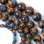 6/8/10mm Natural Blue Sapphire in Quartz with Pyrite Round Loose Beads 15'' AAA+