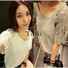 Women's Lace Hollow Out Split Joint Short Sleeve Loose Casual T-Shirt TXCL