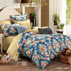 New Painted Floral Duvet Covers Pillow Cases 100% Cotton Quilt Cover Bedding Set