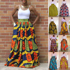 African Lady Women Colorful Printed Maxi Dress High Waist Boho Belted Long Skirt