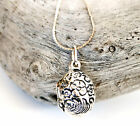 Sterling Silver Oval Floral Etched Vintage Locket Pendant and Chain Necklace