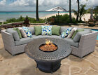 TK Classics Florence Outdoor Wicker 4 Piece Fire Pit Seating Group with Cushion