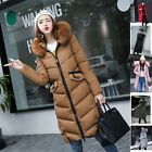 New Womens Winter Down Cotton Coat Jacket long parka Outwear with Fur Collar