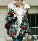 2018 Womens Thicken Camouflage Floral Printed Down Parka Fur Hooded Fashion Coat