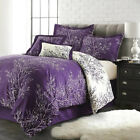 Purple/White Branch Duvet Cover Pillow Case Reversible Quilt Cover Bedding Set