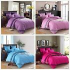 Plain Dyed Luxury Duvet Cover Pillow Case 100% Cotton Quilt Cover Bedding Set