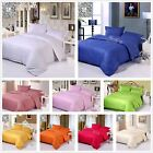 Plain Dyed Duvet Cover PillowCase Reversible 100% Cotton Quilt Cover Bedding Set