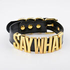 Pu Leather Say What Letters Choker Necklace For Women Punk Metal Words Collar