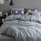 Texture Stripe Duvet Cover Pillow Cases Reversible Navy Quilt Cover Bedding Set