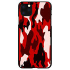 Hard Case Cover for iPhone 5 SE 6 S 7 8 PLUS X Red Black Camouflage