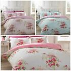 Kate 100% Brushed Cotton Duvet Cover Floral Shabby Chic Pink Blue Cream