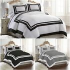 Chezmoi Collection 3 Pieces Hotel Style Bordered Square Pattern Duvet Cover Set