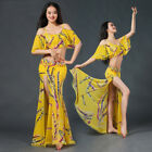 New 2017 Women 2Pcs Top & Long Skirt Dress Flower Prints Belly Dance Costumes AU