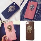 Hot Fashion Snake Skin Phone Case Cover with Metal Ring Stand Holder For iPhone