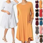 TheMogan S~3X Basic Jersey Knit 3/4 Sleeve Trapeze Pocket Loose T-Shirt Dress