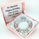 Womens Bracelet Pink White Charms PERSONALISED BOX 21st 30th 40th BIRTHDAY Gifts