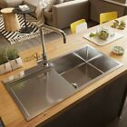 NEW 900*450*220 Stainless Steel single bowl w/ drainer on RIGHT topmount drop in