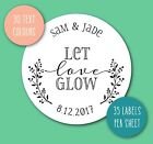 LET LOVE GLOW wedding stickers personalised names candles sparklers rustic S30