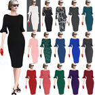 Women Flare Sleeve Polka Dot Print Vintage Pinup Casual Work Party Bodycon Dress