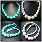 8-18mm,8-20mm,6-22mm Beautiful Turquoise Gems Round Tower Bead Necklace 20""