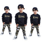 2pcs Toddler Infant Kid Baby Boys Summer Clothing T-shirt Tops+Pants Outfits Set