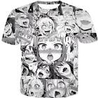 Ahegao Emoji Face Adult Anime Mens Casual T Shirt Short Sleeve Graphic Tee Tops