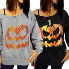 Autumn Women' s Cotton Long Sleeve One Shoulder Pumpkin Halloween Tops T-shirt