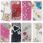 US Silver Luxury Bling Crystal Flip Leather Wallet Stand Case Cover &Skin For LG