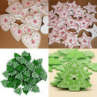 25Pcs 2 Holes Snowflake Christmas Tree Wooden Buttons Fit Sewing Scrapbooking