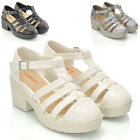 New Womens Gladiator Cut Out Sandals Punk Ladies Platform Chunky Block Heel Size