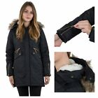 Trespass Eternally Womens Waterproof Jacket Parka Coat Long Length In Black