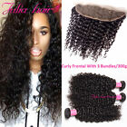 8A Brazilian Curly Human Hair 3 Bundles and 4*13 Frontal Closure Hair Extensions