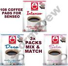 108 (3X36) COFFEE PODS/PADS FOR SENSEO MACHINE: MIX & MATCH: INTENSE, DECAF
