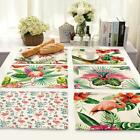 1Pc 42x32cm Kitchen Cotton Linen Flamingo Pad Placemat Dining Table Mat ED