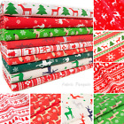 Christmas Reindeer Fabric Polycotton By The Metre Fat Quarters Red Green White