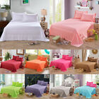 Queen Twin Full Size Bed Sheets Flat Sheet Cover Pillow Case Comfort Solid Color image