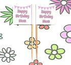 24 Personalised HAPPY BIRTHDAY MUM MAM FLAG PICK Cup Cake Topper Decoration