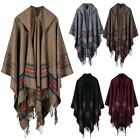 black poncho with hood - Women's Pashmina Poncho Cape Scarves Wrap Hooded with Hat Big Shawl Cloak Q7P9