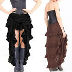 Gothic Irrefular Steampunk Lace Ruffle Layered Vintage Cocktail Party Long Skirt