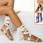 Style Women Strappy Lace Up Gladiator Flat Flip Flop Sandals Shoes Summer Casual