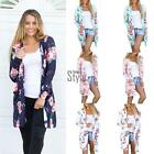 Women Front Open Stitch Long Sleeve Printed Floral Loose Cardigan Coat TXST