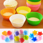 10Pcs Nonstick Silicone Cake Mold Heat Resistant Reusable Baking Cup Mould NEW