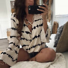 Sexy Women Ladies Long Sleeve Loose Blouse Summer V Neck Casual Shirt Tops