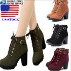 red ankle heels - US Womens High Heel Lace Up Ankle Boots Ladies Zipper Buckle Platform Shoes Size